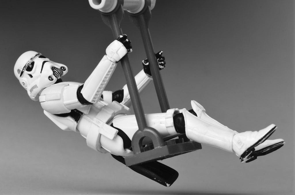 A swinging Stormtrooper (bw)_5990517231_l